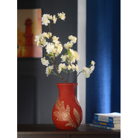 Debossing 16 cm x 16 cm x 25 cm Vase - @home By Nilkamal, Yellow & Red