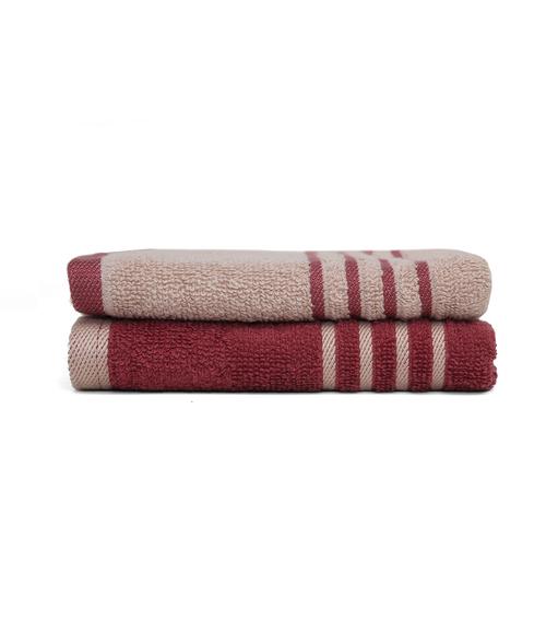 Hand Towel 40 x 60 cm Set of 2 - @home by Nilkamal, Maroon &Beige