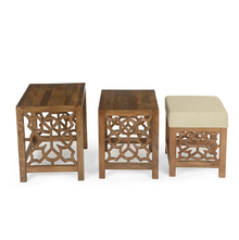 Batik Nest Table Set of 3 with Pouffe- @home by Nilkamal, Cherry