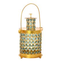 Enchanted Lantern Crystal Candle Stand - @home by Nilkamal, Sea Green