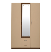 Ambra 3 Door High Gloss Wardrobe with Mirror, Cappucino