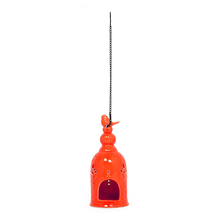 Free Bird Cage Candle Stand, Orange