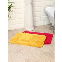 Microfiber 40 cm x 60 cm Set of 2 Bathmat, Mustard & Fushcia