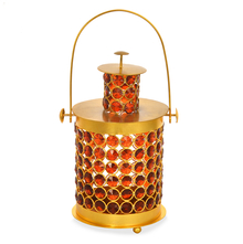 Earthy Lantern Crystal Candle Stand - @home by Nilkamal, Maroon