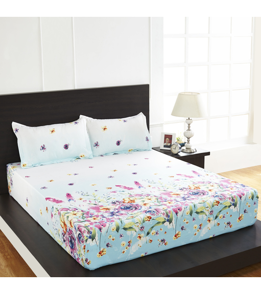 Arcade Floral Double Bed Sheet - @home By Nilkamal, Multicolor