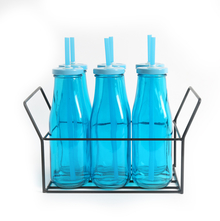 Bottle with Metal Lid/ Stand & Straw Set of 6 - @home by Nilkamal, Blue