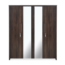 Zerlin 4 Door Wardrobe with Mirror - @home by Nilkamal, Dark Walnut