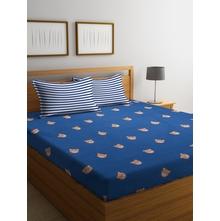 Teddy 230 cm x 250 cm Double Bedsheet, Navy Blue