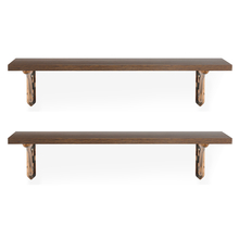 Romantic & Fern Small Wall Shelf Set of 2 - @home by Nilkamal, Mahogany