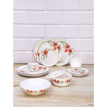 Romantic 21 Pieces Dinner Set, Emerald & Red