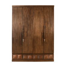 David 4 Door Wardrobe - @home by Nilkamal, Dark Walnut