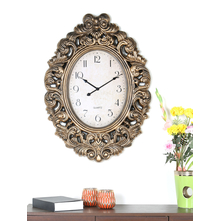 Antique Royal Oval Wall Clock - @home by Nilkamal, Gold