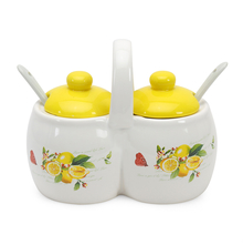 Condiment Set with Spoon, Yellow