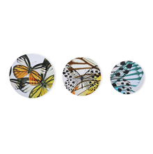 Butterfly Set of 3 Round Picture Frame - @home by Nilkamal, Yellow
