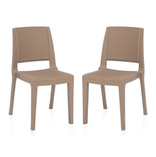 Nilkamal Enamora Chair - Set of 2, Rattan Dark Beige