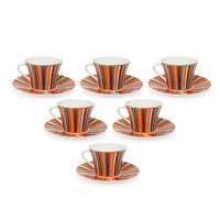 Geom George 170 ml Tea Cup & Saucer Set of 6 - @home by Nilkamal, Orange