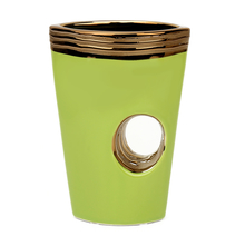 14 cm x 6.6 cm x 20 cm Vase with Center Void - @home by Nilkamal, Light Green & Silver