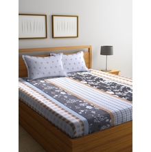 Floral & Checkered 250 cm x 274 cm Double Bedsheet, Grey