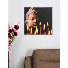 Buddha with Flames LED 50X50CM Picture Frame, Grey