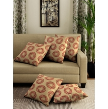 SWRIL CUSHION COVER SET OF 5, RED/BEIGE
