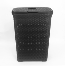 Laundry Basket 47cm x 25cm x 62cm with Lid - @home by Nilkamal, Black