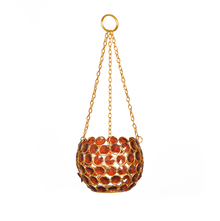 Earthy Hanging Crystal Cup Candle Stand - @home by Nilkamal, Maroon