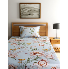 Floral 150 cm x 225 cm Single Bedsheet - @home by Nilkamal, Sea Green