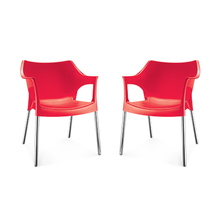 Nilkamal Novella 10 with Arm & without Cushion Chair Set of 2, Red