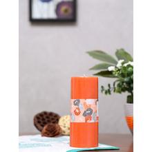 Tang Bliss Large Rustic Pillar Candle Set, Orange