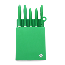 Bergner 8 Pieces Stainless Steel Knife with Block, Green