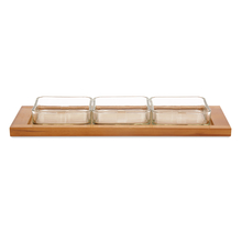 3 Snack Bowls with Bamboo Tray - @home by Nilkamal, Multicolor