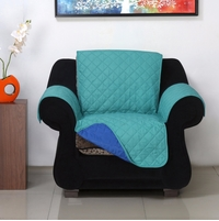 1 Seater Reversible Sofa Cover 179 cm x 165 cm - @home by Nilkamal, Sea Green & Indigo