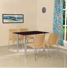 Napoli 4 Seater Dining Set - @home by Nilkamal, Biscuit