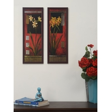 Floral Set of 2 Painting - @home by Nilkamal, Maroon