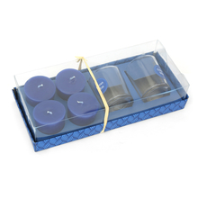 Ocean 2 Glass Votives & Wax Fills Gift Set - @home by Nilkamal, Indigo