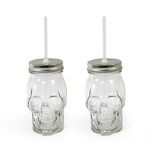 Skulljar 450 ml with Metal Lid/ Stand & Straw Set of 2 - @home by Nilkamal, Clear