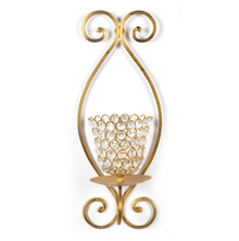 Small Crystal Drops Wall Candle Stand - @home by Nilkamal, Gold