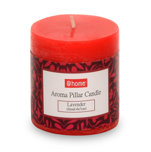 Lavender Small Pillar Candle - @home by Nilkamal, Fushcia