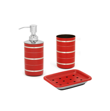 Stainless Steel 3 Piece Matte Finish Stripes Bath Set, Red