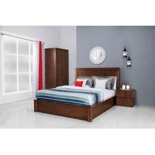 Marathon Queen Bed With Box Storage, Dark Walnut