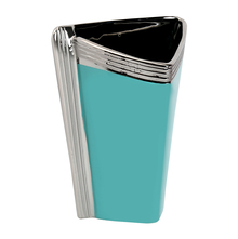 Triangle Shape Small 16.6 cm x 11.5 cm x 23.2 cm Vase - @home by Nilkamal, Sea Green & Silver
