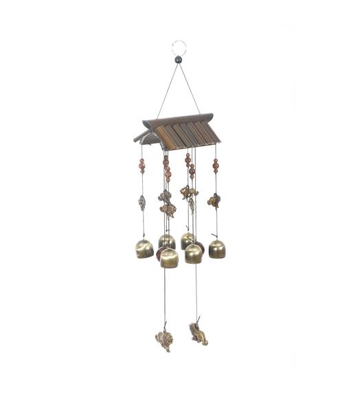 Hanging Lions Den Medium Windchime - @home by Nilkamal, Gold