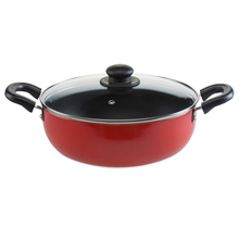 24 cm Classic Induction With Lid Kadai - @home By Nilkamal, Red