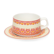 Bhoemn Zuri Cup & Saucer 200 ml Set of 4 - @home by Nilkamal, Red