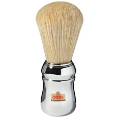 Omega 10048 Pure Bristle Shaving Brush, Chrome Plated– Made in Italy