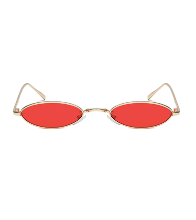 Metal Micro Oval Red Sunglasses