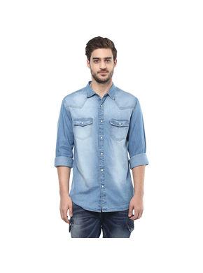 Solid Denim Regular Shirt, 28,  mid blue
