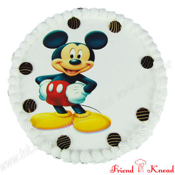 Hello Mickey Photo Cake, white forest, 5 pm - 6 pm, 1 kg