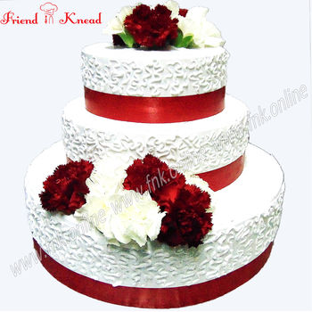 Floral Wedding Cake, select time, 5 kg, eggless