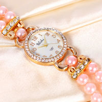 Peach Colour Women's Rose Gold Plated Rhinstone Dial Flower Bead Double Wrap Bracelet Watch